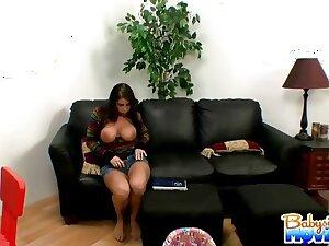 Monster teat babysitter Whitney gets caught masturbating on sofa